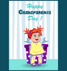 happy grandparents day greeting card with cute vector image