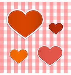 Hearts Made From Paper on Retro Tablecloth vector image vector image