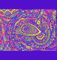 Hippie style rainbow psychedelic shamanic eye vector