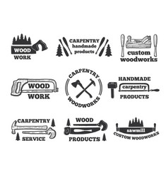 Labels for woodworking shop monochrome vector