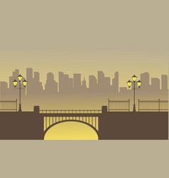 landscape of bridge with town background vector image