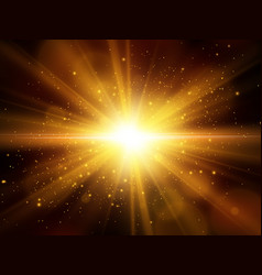 light effect star burst with sparkles gold vector image
