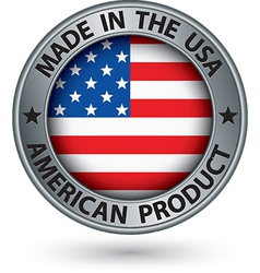made in usa american product silver label vector image
