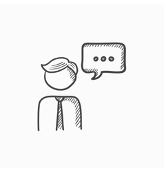 Man with speech square sketch icon vector image