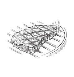 Meat steak on grill isolated on white background vector