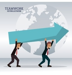 men business carrying arrow team work vector image