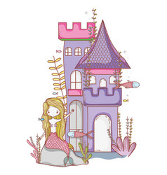 mermaid on castle cute cartoon vector image