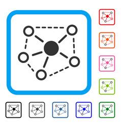Molecule links framed icon vector