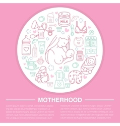 Motherhood poster template line vector image