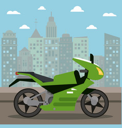 motorcycle transport city night vector image