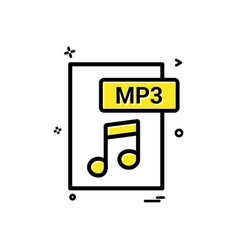 mp3 file format icon design vector image