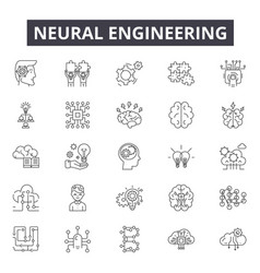 Neural engineering line icons signs set vector