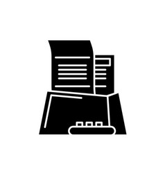 office paper black icon sign on isolated vector image