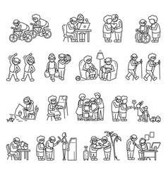 older persons icon set simple style vector image