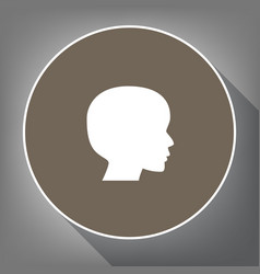 people head sign white icon on brown vector image