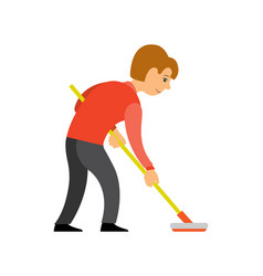 Person play curling using broom isolated character vector