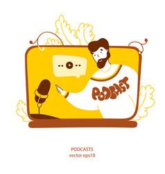 Podcaster recording radio program flat yellow vector