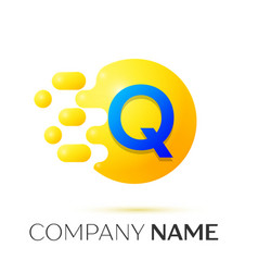 Q letter splash yellow dots and circle bubble vector