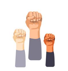 raised fist set vector image