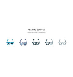 reading glasses icon in different style two vector image