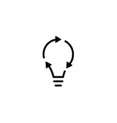 recycle bulb lamp energy logo icon line outline vector image