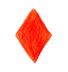 red crayon scribble texture stain rhombus shape vector image