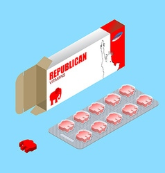 Republican pills in pack Political tablets vector