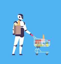 Robot holding shopping cart house bot helper vector