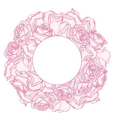 Round frame with linear engraving graphic rose vector