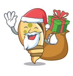 Santa with gift sea shell mascot cartoon vector