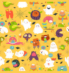 seamless pattern ghosts and monsters halloween vector image