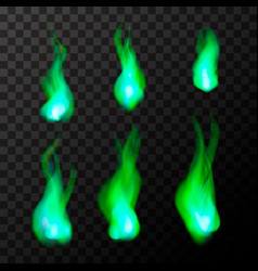 set of bright green magic fire flames on vector image