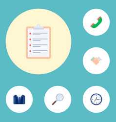 Set of trade icons flat style symbols with deal vector