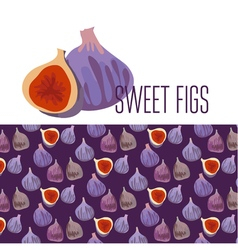 simple flat of fresh fig pattern vector image