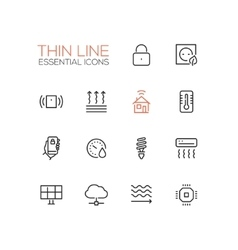Smart House - Thin Single Line Icons Set vector image