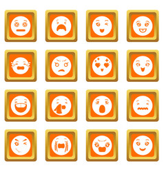 smiles icons set orange square vector image