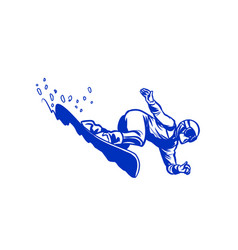 snowboarder silhouette giant slalom snowboarding vector image