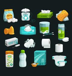 soap shampoo sponge napkin and cotton pad icon vector image