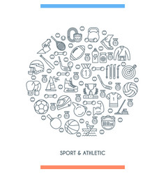 Sports and athletics line concept vector