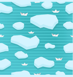 Spring seamless pattern of ice floes and paper vector