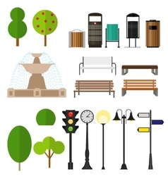 Street City Flat Design Elements vector