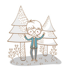 stylish boy cartoon outfit nature background vector image