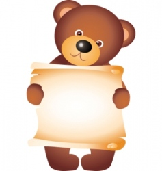 Teddy bear with blank vector vector