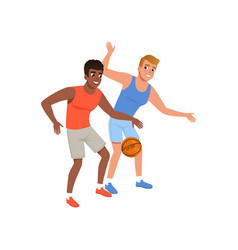 two guy playing in basketball active lifestyle vector image