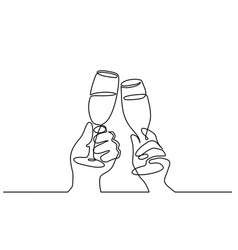 two hands cheering with glasses champagne vector image