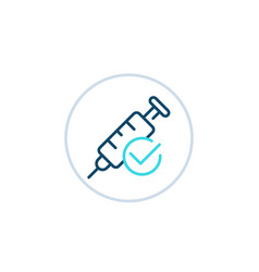 Vaccination done linear icon vector