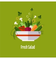 Vegetable salad healthy food diet flat style vector image vector image