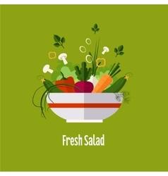 Vegetable salad healthy food diet flat style vector image