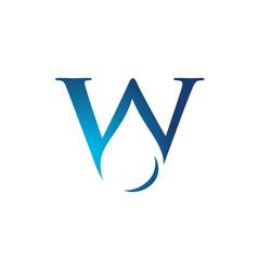 W letter inside water drop logo template vector