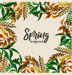 watercolor spring leaves background vector image